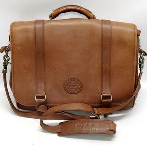 Eddie Bauer Brown Leather Briefcase/Messenger Bag